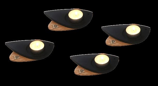 Detourée. Accumulation de photophores oiseau modèle Moineau. Couleur bois naturel et teinté noir.