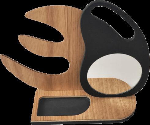 Support à bijoux en bois et miroir amovible DikromA. Design d'une feuille aux formes organiques. Couleur bois naturel et teinté noir.