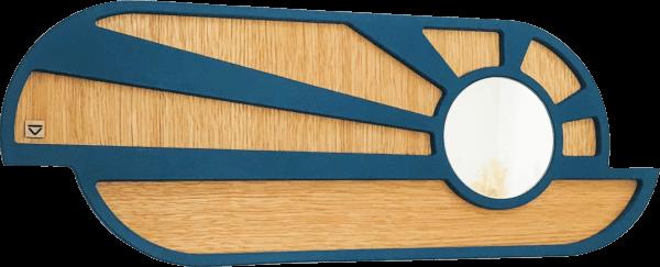 Miroir en bois naturel et bleu. En forme d'un lever ou coucher de soleil. Position horizontale